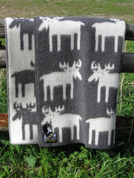 Wolldecke Wollplaid Elch grau-natur