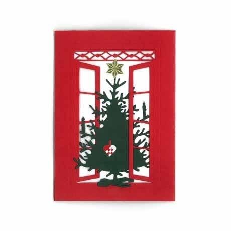 Briefkarte Weihnachtsbaum mit Flechtherz rot