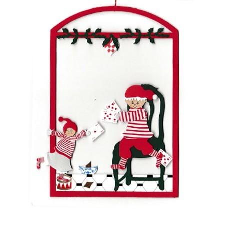 Fensterbild Kartenspiel mit Weihnachtsvati