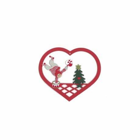 Fensterbild Weihnachtsjunge mit Trommel und Flechtherz