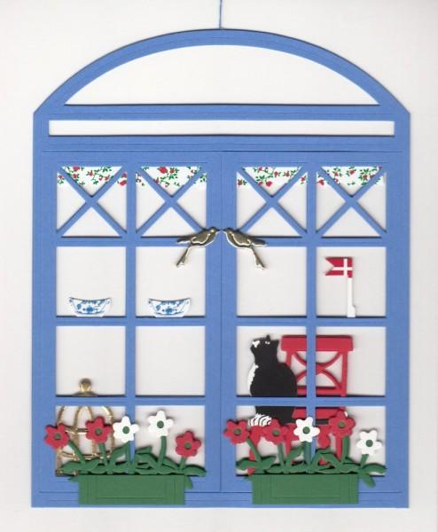 Fensterbild FENSTER MIT KATZE blau