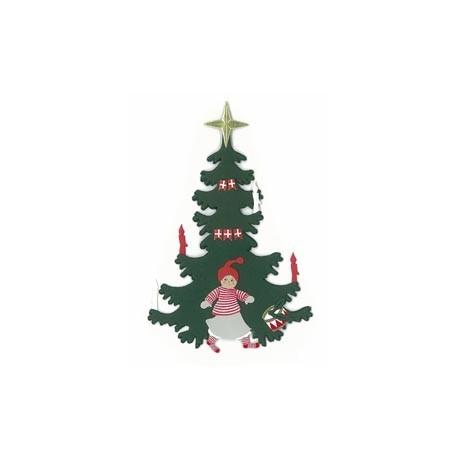 Fensterbild Weihnachtsbaum mit Mädchen
