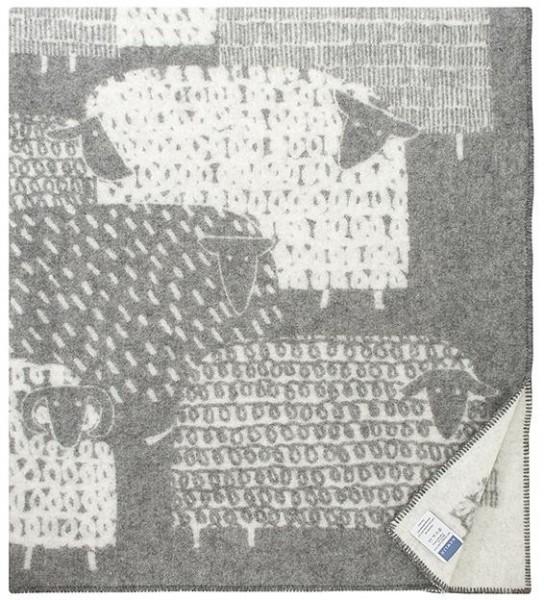 Wolldecke Wollplaid PÄKÄPÄÄT grau-weiss