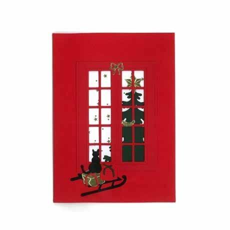 Briefkarte Katze auf Schlitten rot