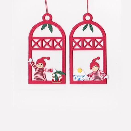 Fensterbilder / Anhänger Weihnachtskinder mit Trommel + Reisgrütze