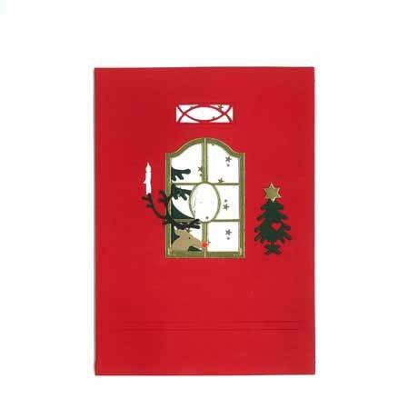 Briefkarte Rentier am Fenster rot