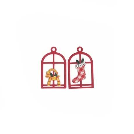 Fensterbilder / Anhänger Weihnachtssocke + Strohbock