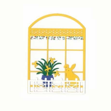 Fensterbild OSTERHASE AM FENSTER gelb