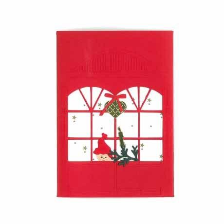 Briefkarte Weihnachtskind am Fenster rot