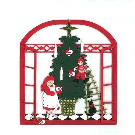 Fensterbild Vorbereitung für den Weihnachtsabend