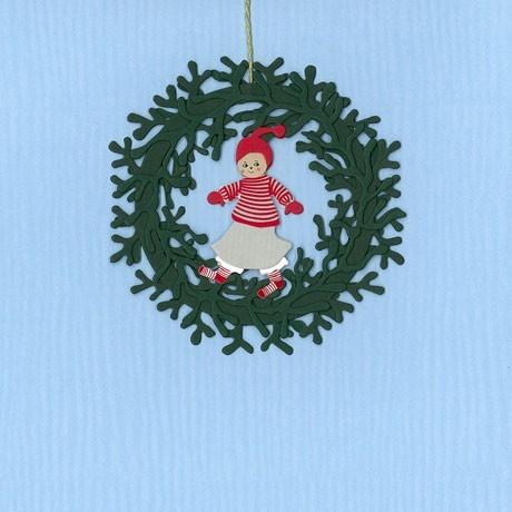 Fensterbild Weihnachtsmädchen im Mistelkranz