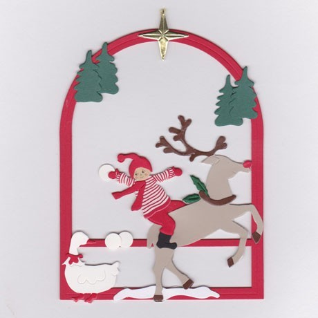 Fensterbild Weihnachtsjunge mit Rentier im Schnee