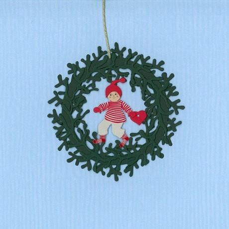 Fensterbild Weihnachtsjunge im Mistelkranz