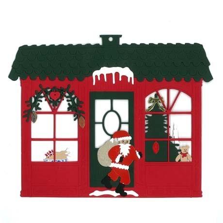 Fensterbild Weihnachtshaus mit Weihnachtsmann
