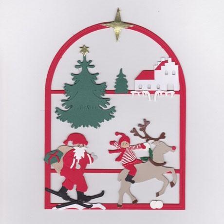 Fensterbild Weihnachtsmann mit Rentier im Schnee