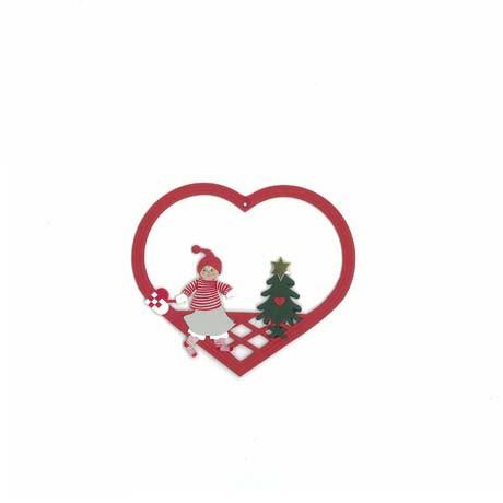 Fensterbild Weihnachtsmädchen mit Tannenbaum und Flechtherz