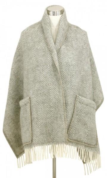 Schal mit Taschen MARIA grau-weiss