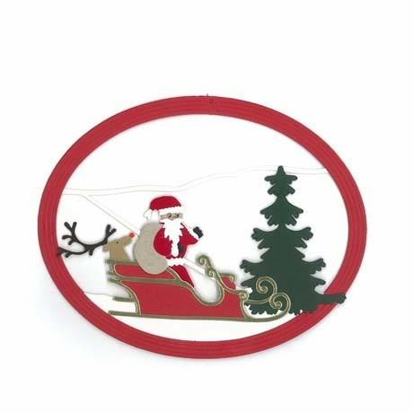Fensterbild Weihnachtsmann mit Rentier im Schlitten