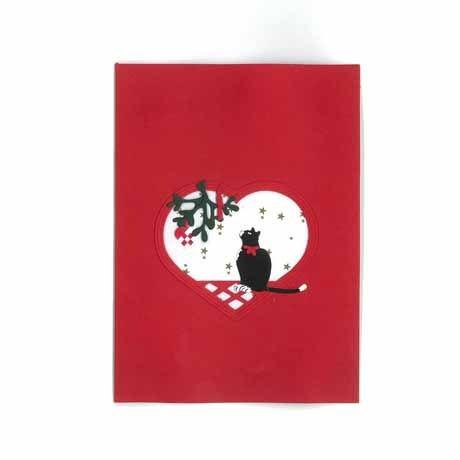 Briefkarte Katze und Flechtherz rot