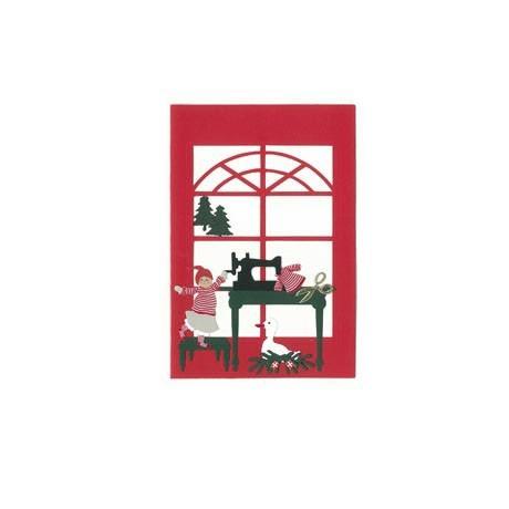 Briefkarte Weihnachtskind an Nähmaschine rot