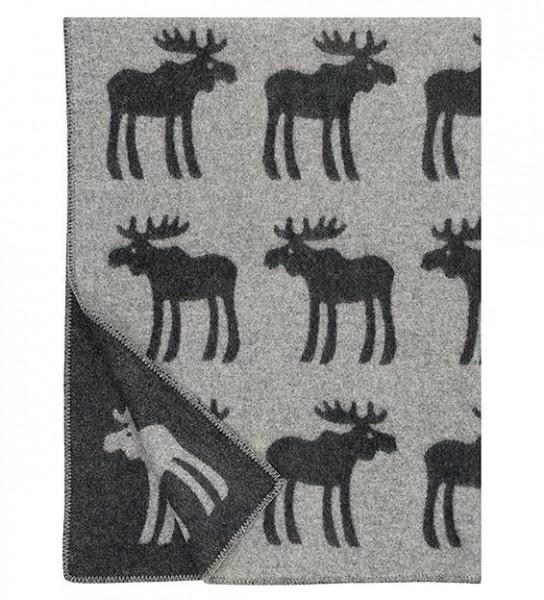 Wolldecke Wollplaid HIRVI / ELCHE schwarz-grau