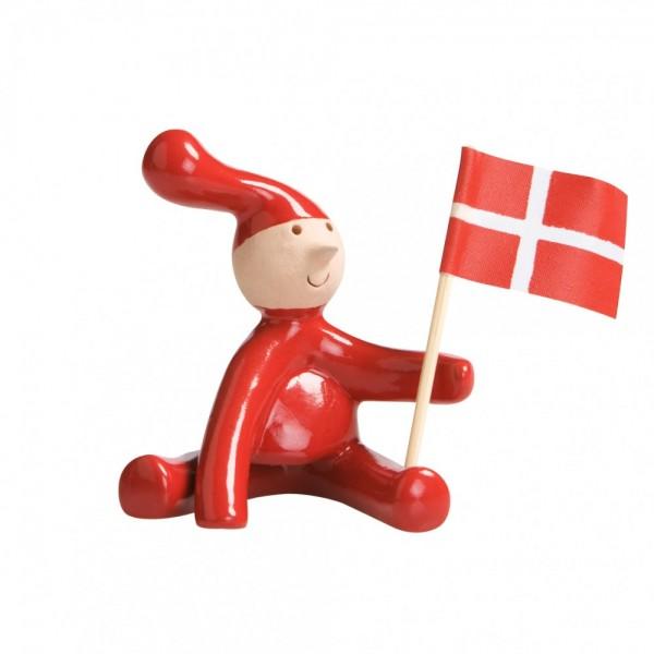 Weihnachtswichtel, Jultomte, JULENISSE aus Dänemark mit DÄNISCHER FLAGGE