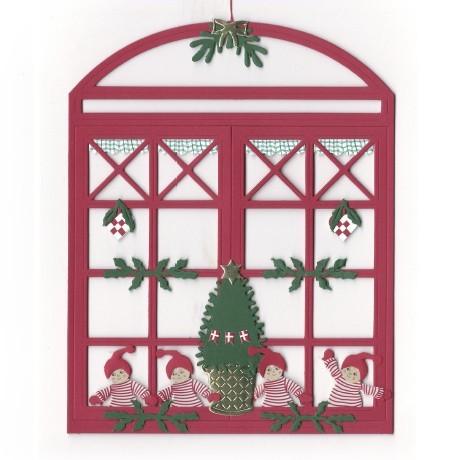 Fensterbild Weihnachtskinder am Fenster