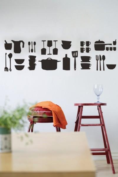 Wall Sticker Wandtattoo KITCHEN schwarz
