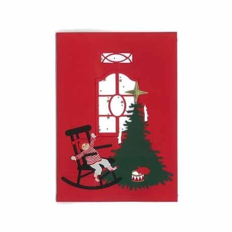 Briefkarte Weihnachtskind auf Schaukelstuhl rot