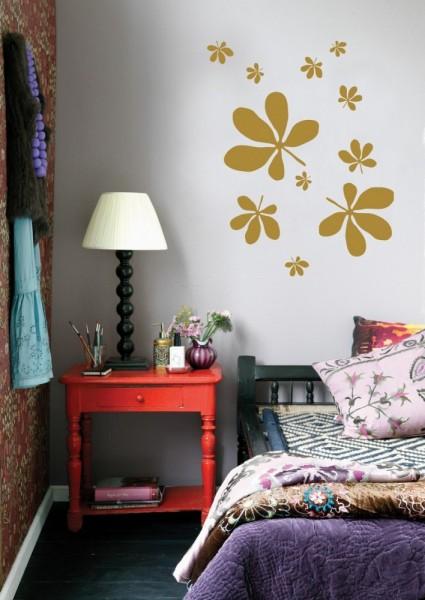 Wall Sticker Wandtattoo FLORA gold