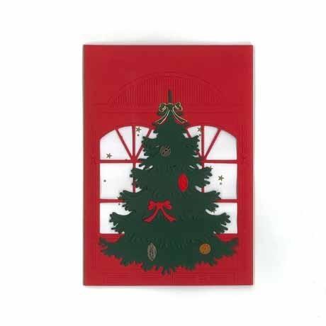 Briefkarte Weihnachtsbaum mit Schleife rot