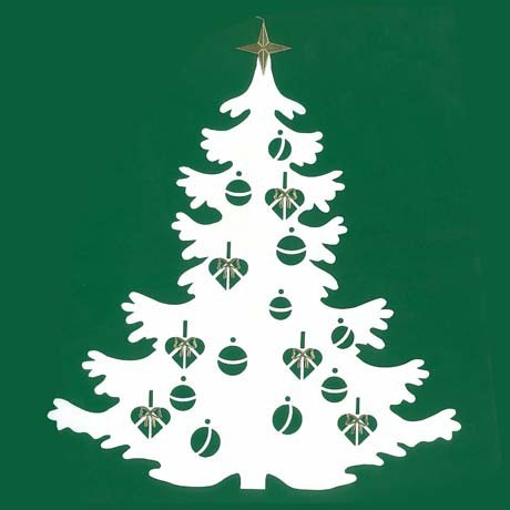Fensterbild Großer Weihnachtsbaum, doppelt, aufklappbar, weiss