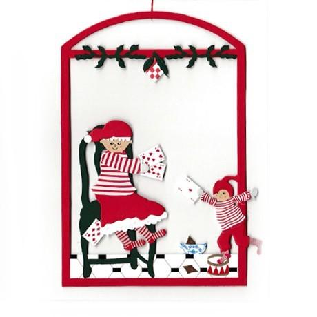 Fensterbild Kartenspiel mit Weihnachtsmutti