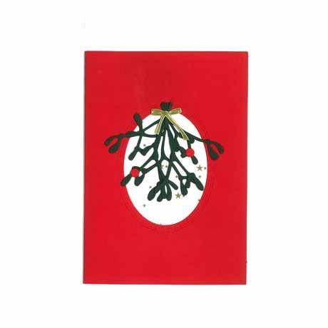 Briefkarte Mistelzweig mit Schleife rot