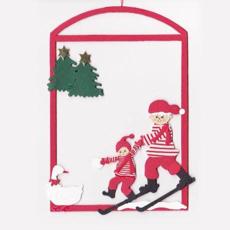 Fensterbild Weihnachtskinder auf Skitour