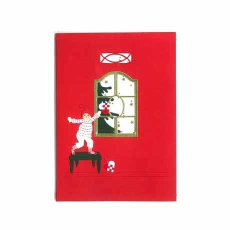 Briefkarte Weihnachtsjunge mit Flechtherz rot