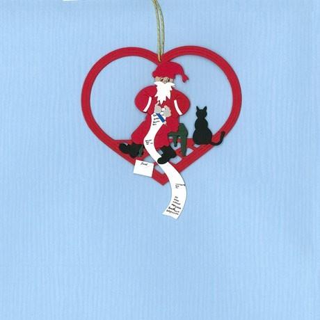 Fensterbild Weihnachtsmann mit Wunschzettel