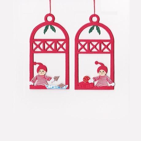 Fensterbilder / Anhänger Weihnachtskinder mit Geschenk + Gebäck