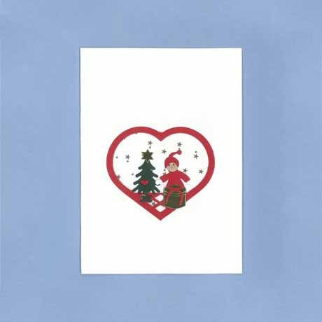 Briefkarte Weihnachtsjunge und Geschenk weiss