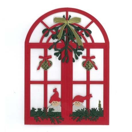 Fensterbild Fenster mit Mistel und Weihnachtskindern