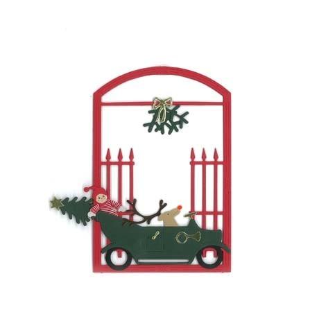 Fensterbild Abholen des Weihnachtsbaums