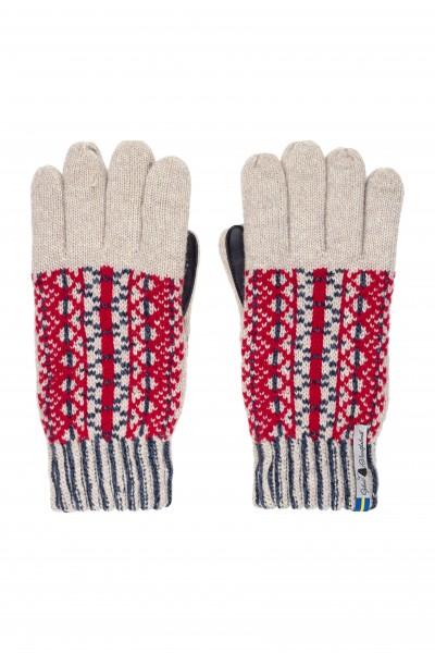Wollhandschuh Fingerhandschuh LYCKSELE rot-blau-natur / HANDY-FÄHIG