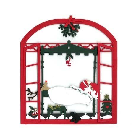 Fensterbild Weihnachtsmann im Bett