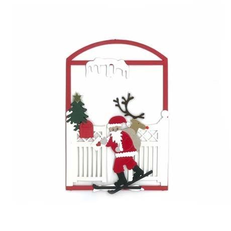 Fensterbild Weihnachtsmann beim Skilaufen