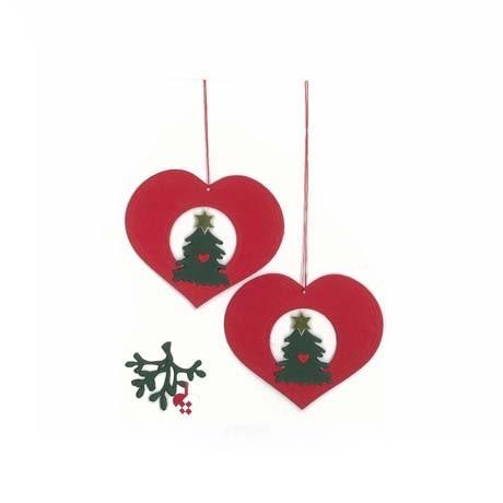 Fensterbilder / Anhänger Herzen mit Weihnachtsbäumen