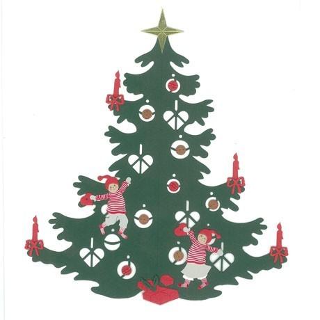 Fensterbild Weihnachtsbaum mit Kindern