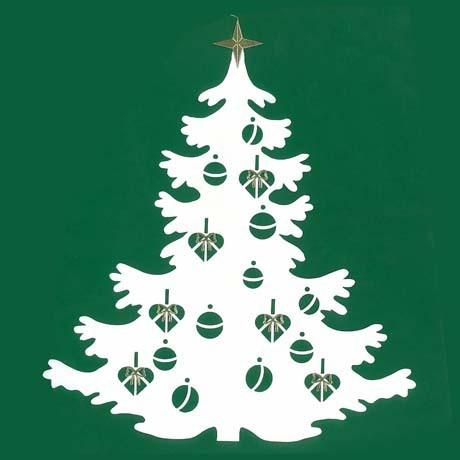 Fensterbild Großer Weihnachtsbaum weiss