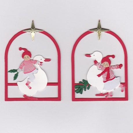 Fensterbilder / Anhänger Weihnachtskinder mit Gans