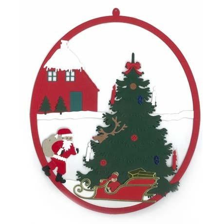 Fensterbild Weihnachtsmann mit Schlitten