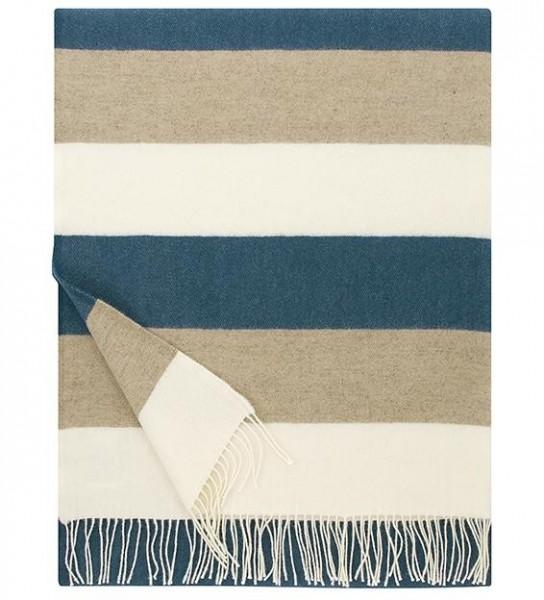 Wolldecke Wollplaid TAIGA blau